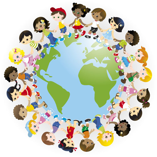 Открытки. Всемирный день ребенка. Дети и земной шар
