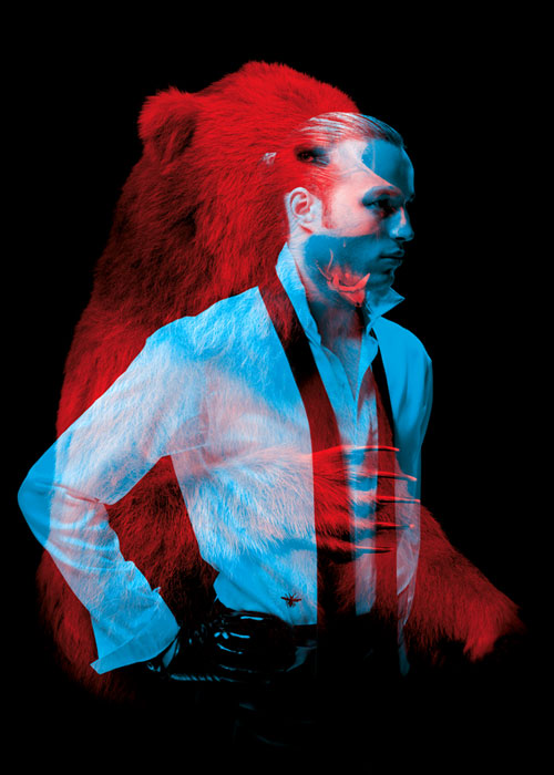 Amazing Double-Exposure Portraits of Man and Beast
