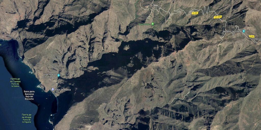 Ущелье Маска, фото со спутника