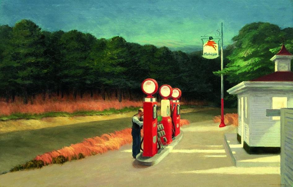 """Заправка, 1940 г. Творческий метод американского художника складывался во времена """"великой депрессии"""