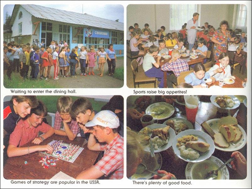 По часовой стрелке, начиная с верхней левой картинки: перед обедом; спорт повышает аппетит; еды мног