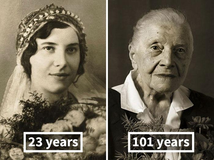 Мари Бурешова, 23 года (на свадьбе) и 101 год.