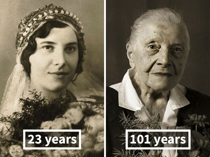 «Лица века»: столетние долгожители в молодости и сейчас (13 фото)