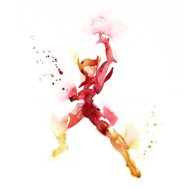Super heros - 15 aquarelles colorees de Blule