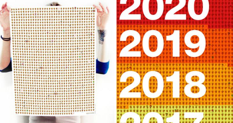 Um calendario tem Trump ilustrando todos os dias durante os proximos quatro anos