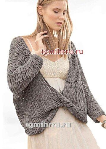 Ажурный пуловер с перекрученным передом. Вязание спицами