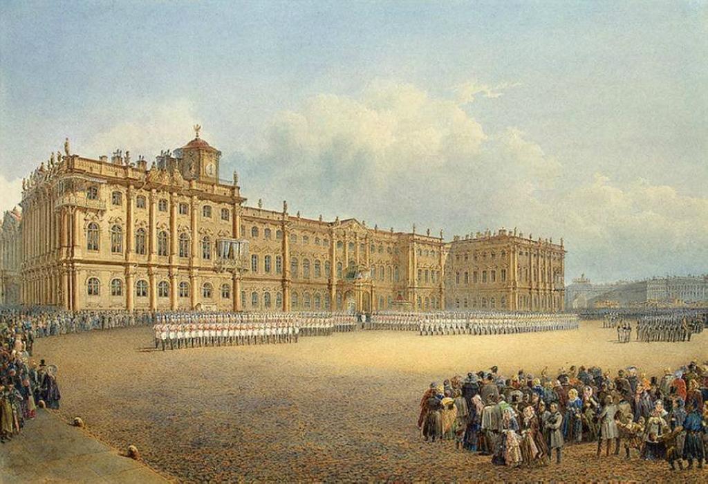 Первоначально окраска дворца имела жёлтые оттенки, как у Версаля и Шёнбрунна.jpg