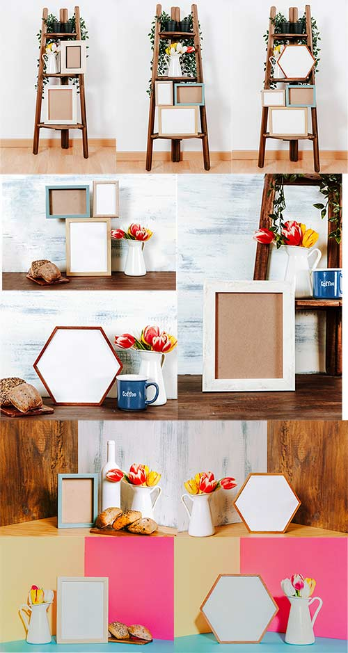 Фоны с рамками и цветами / Backgrounds with frames and flowers