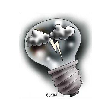 Открытки. С днем Энергетика! Лампочка с молнией внутри