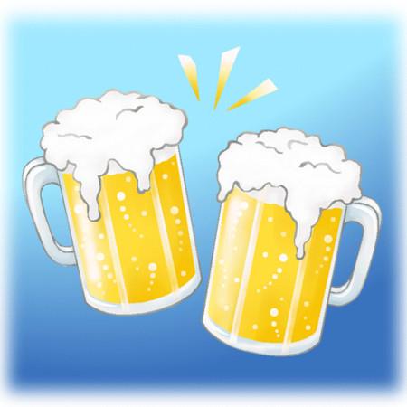 С днем пивовара! Две стилизованные кружки пива открытки фото рисунки картинки поздравления