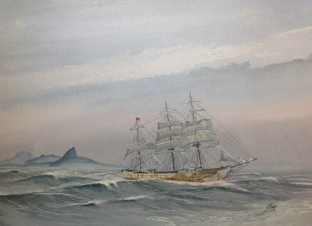 Rajore. Off Cape Horn. 1882-1923; Type Iron 3-masted Full Rigged Ship Built , Southampton, England.