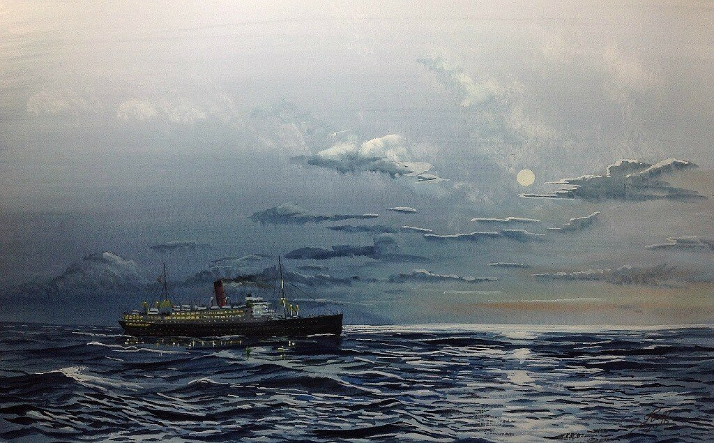 'Franconia' in moonlight, near the end of the era of the Classic Liners.