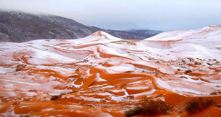 1. Если быть точным, то снег выпал в африканской пустыне Сахара впервые за 37 лет.