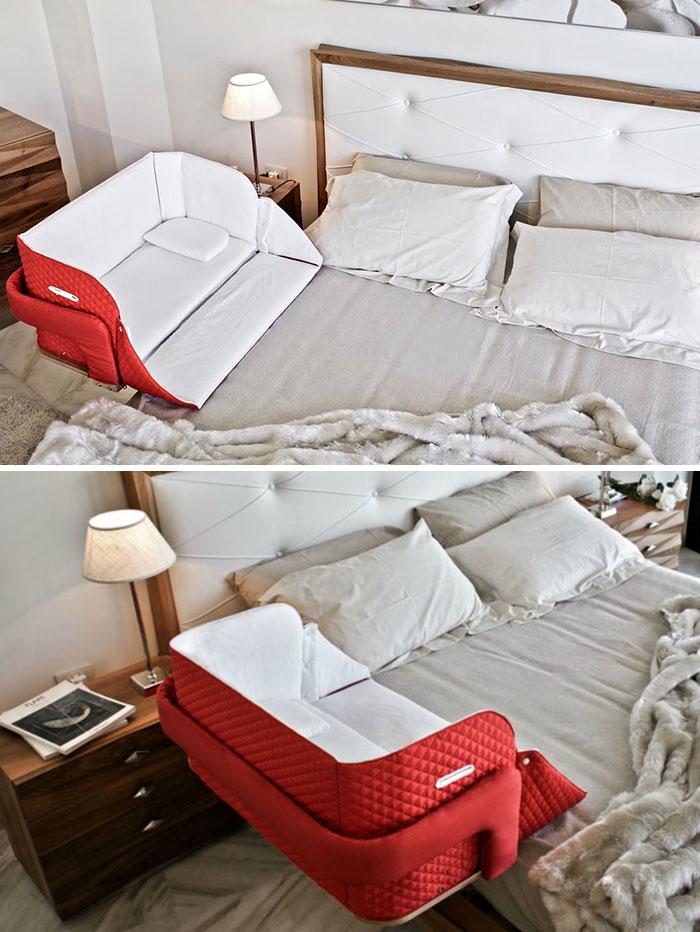 Портативная детская кроватка CULLA BELLY, которая крепится к родительской кровати.