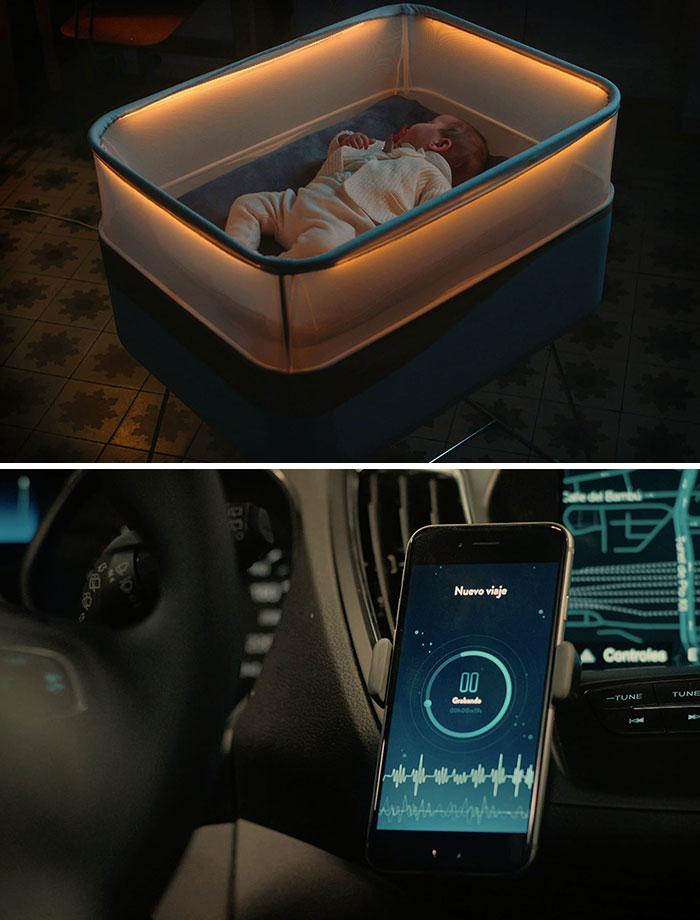 Детская кроватка Max Motor Dreams, которая имитирует движение автомобиля, что успокаивает ребенка.