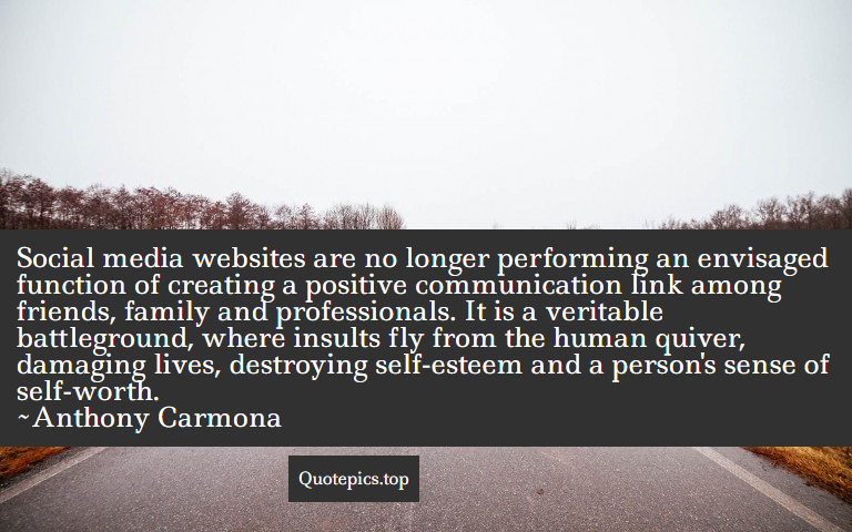 Social media websites are no longer performing an envisaged function of creating a positive communication link among friends, family and professionals. It is a veritable battleground, where insults fly from the human quiver, damaging lives, destroying self-esteem and a person's sense of self-worth. ~Anthony Carmona