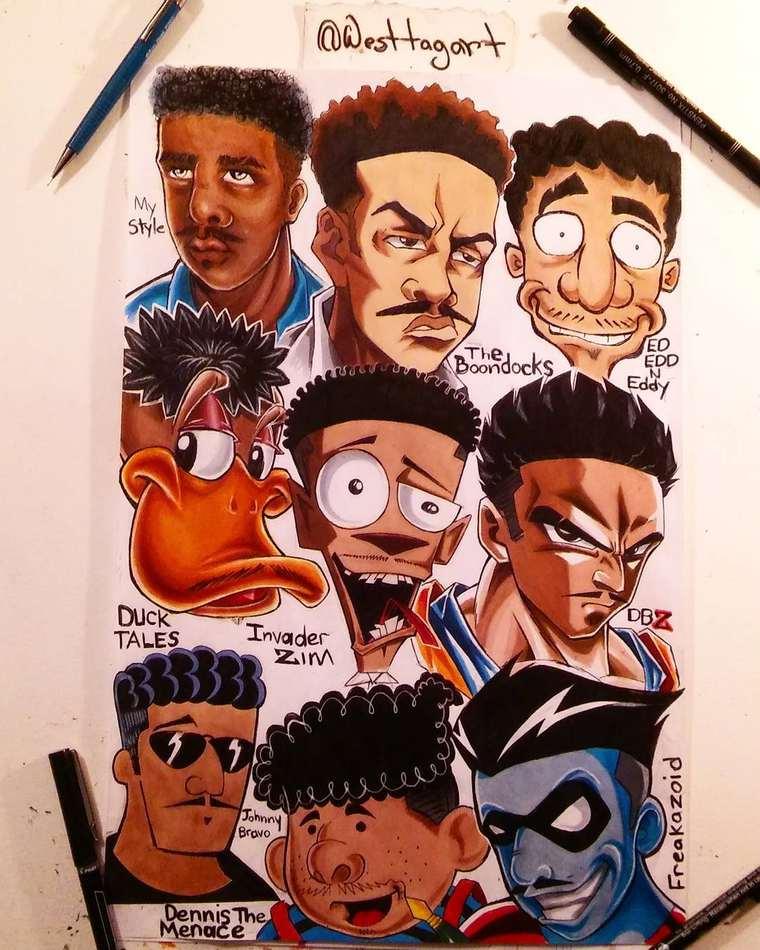 Quand des illustrateurs reproduisent le style des cartoons celebres