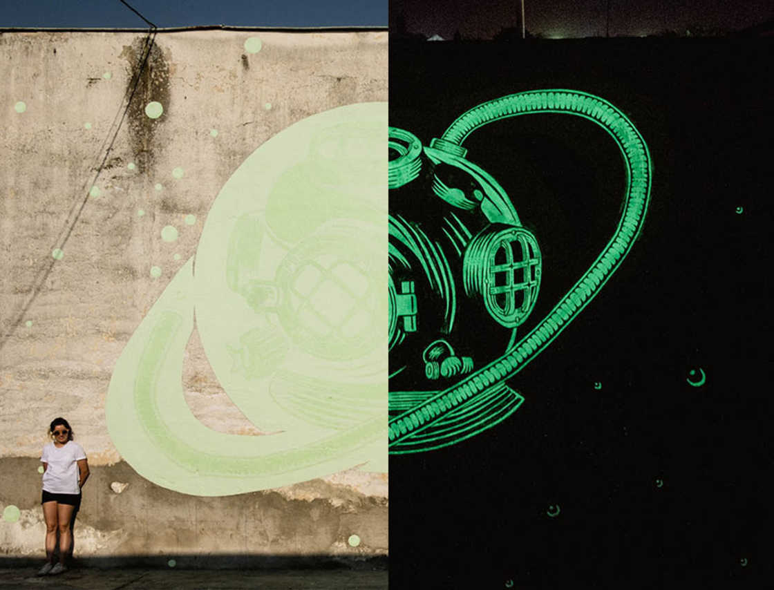 Clever phosphorescent street art!