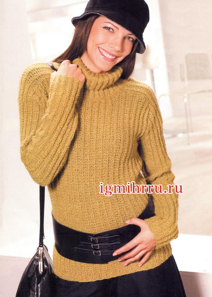 Кашемировый свитер горчичного цвета с рукавом-погоном. Вязание спицами