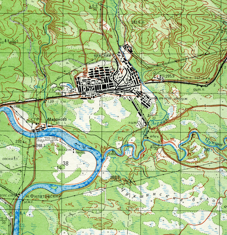 Карта генштаба O-47-140. Чунский. 1980 г.  Фрагмент