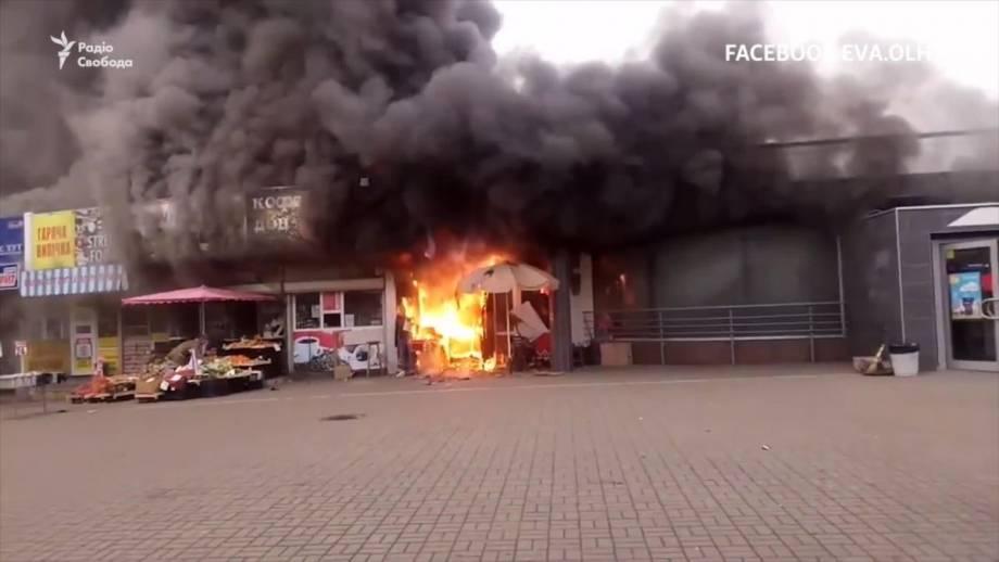 Пожар возле станции метро «Левобережная» – видео с места событий