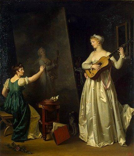 Маргарита Жерар. Автопортрет с гитаристкой 1803