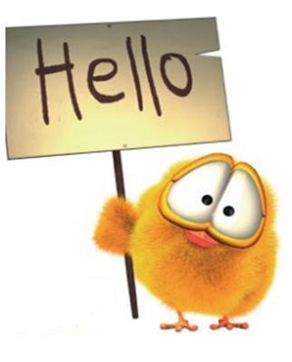 Открытки. Международный день приветствий. Привет у  птички на плакатике открытки фото рисунки картинки поздравления