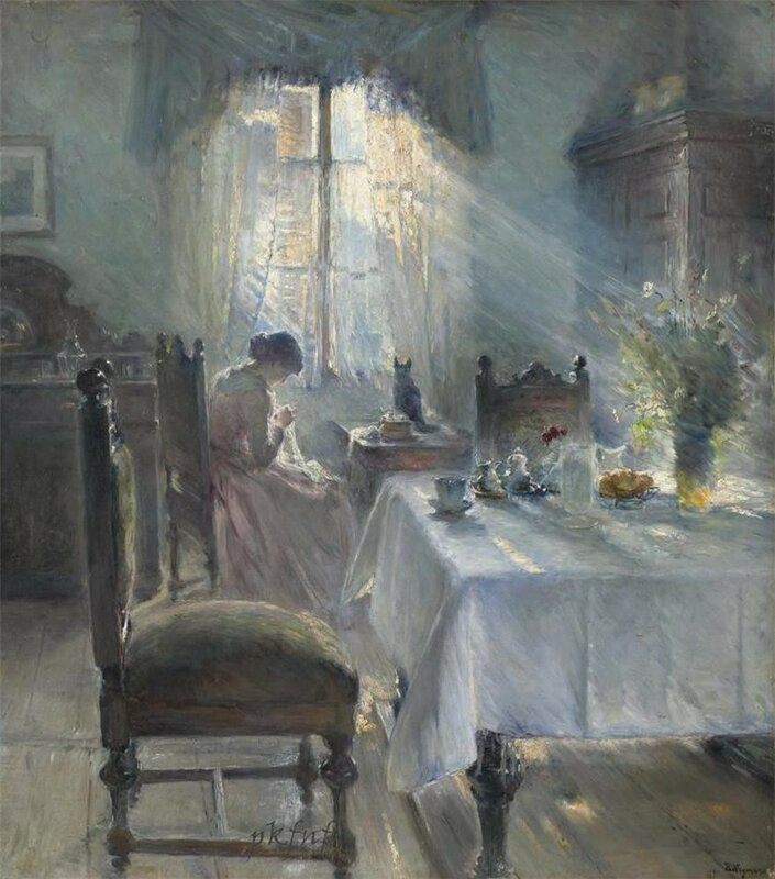 Woman sewing in an interior (also known as Interiør med kvinde som syr) Bertha Wegmann - 1891