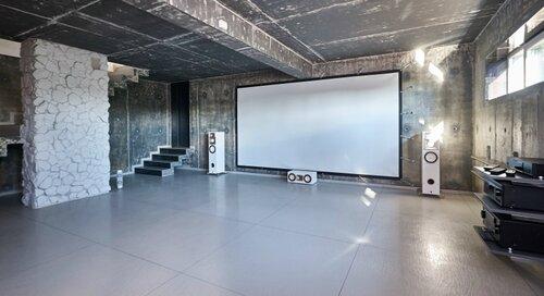 060 кинозал, проекционный экран, интерьер в стиле лофт