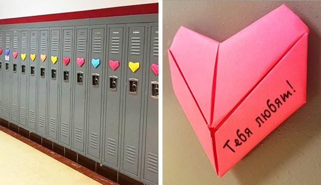 © facebook.com  Студент сделал избумаги 1500 оригами-сердец, чтобы каждый учащийся получил с