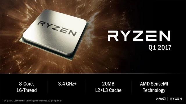 Первая волна AMD Ryzen будет состоять изтрёх моделей