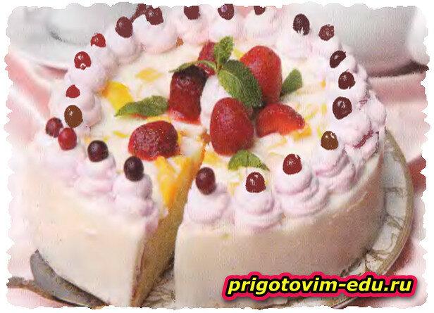 Мангово - клубничный десерт