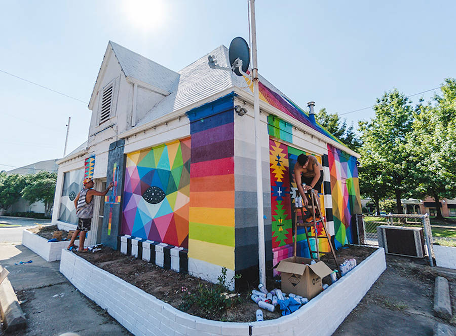 New Multicolored Artwork on a House by Okuda