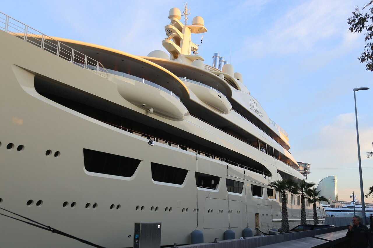 Dilbar super-yacht in Barcelona