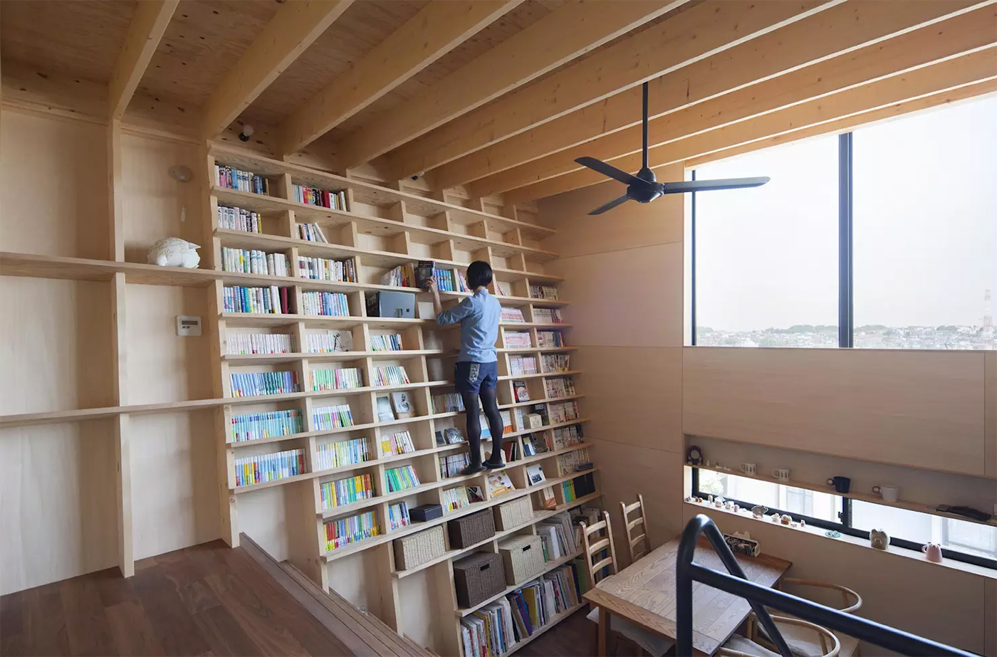 japanese design home bookshelf