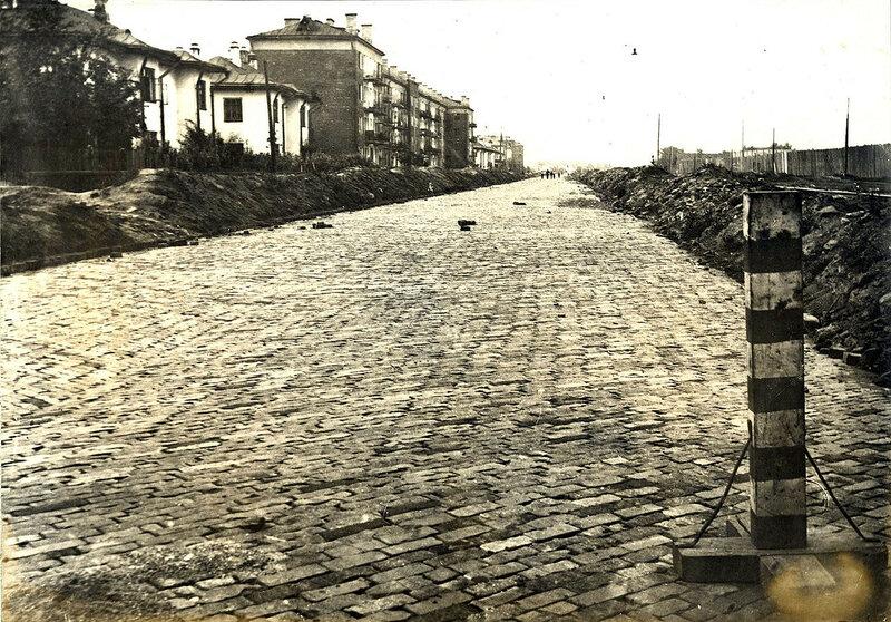 737315 Довоенная Беговая улица от Ленинградки в сторону Ипподрома. 1934