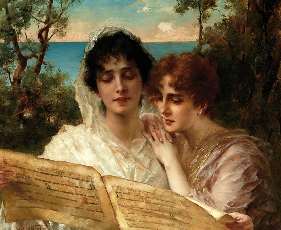 Young Ladies Reading a Manuscript