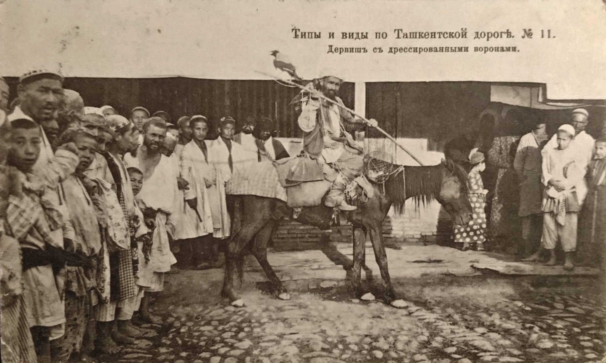 Окрестности Ташкента. Дервиш с дрессированными воронами
