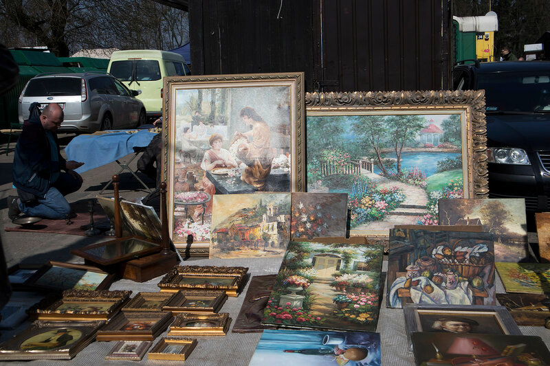 Street flea market of old things and antiques in the old district