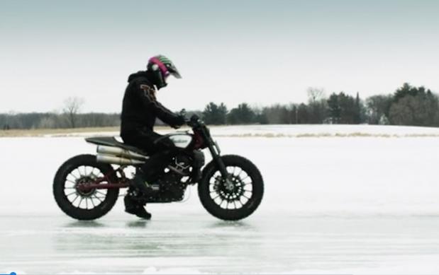 Ледовые покатушки Брэда Бейкера на Indian FTR1200 Custom  (видео)