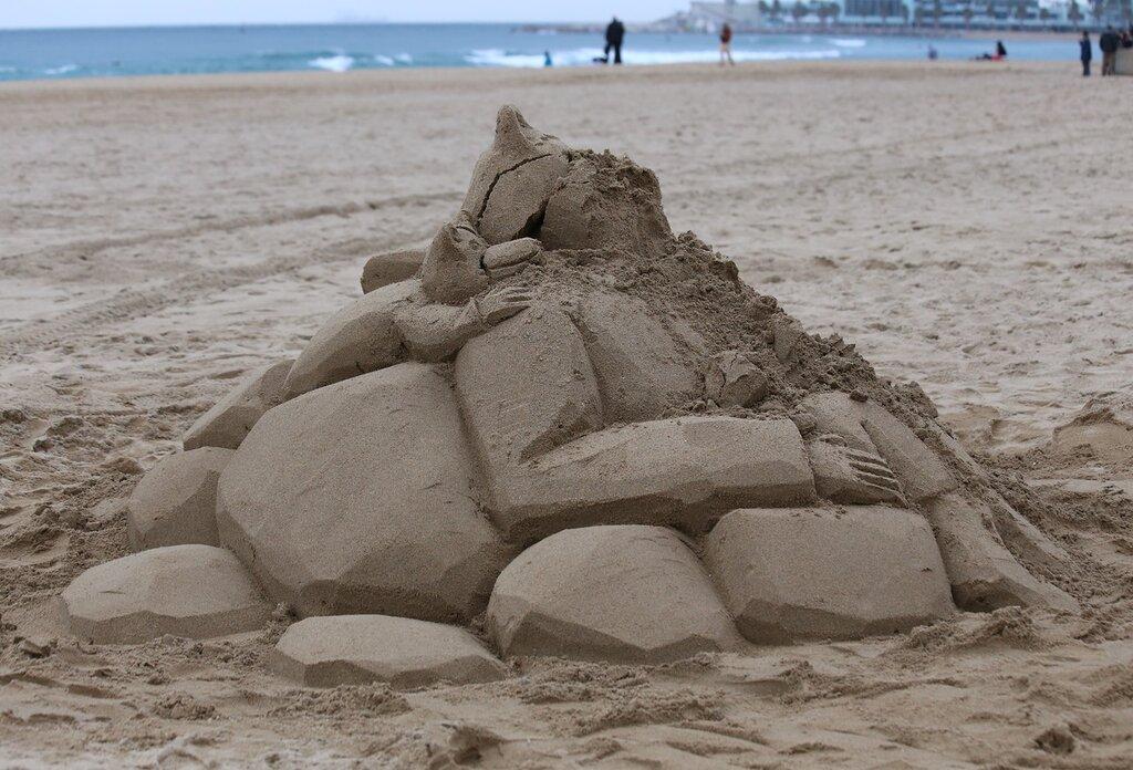Barcelona. Barceloneta. The Beach Of San Sebastian. Sand castles. (Platja de Sant Sebastià)