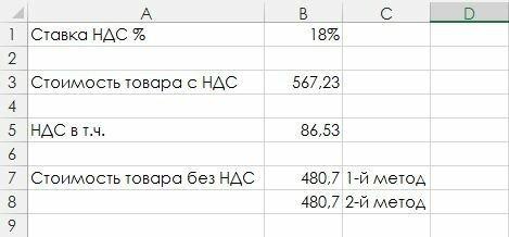Рис. 1. Таблица расчета суммы НДС (с числовыми данными)