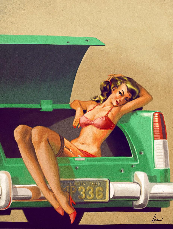 пин-ап девушки для календаря игры Mafia II / pin-up girls