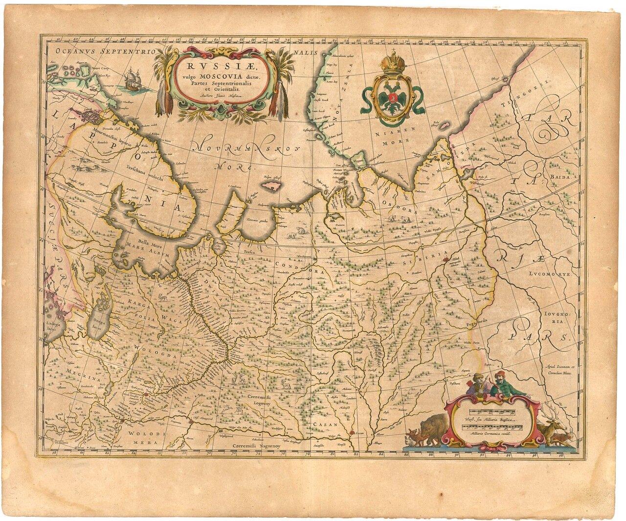 1645. Карта Московии. Северная часть