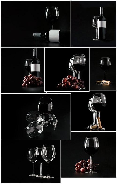 Вино, бокалы, виноград - Клипарт / Wine, goblets, grapes - Clipart