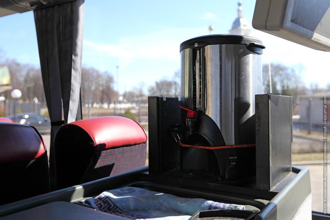 салон автобуса Bova питьевая вода