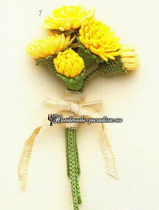 Миниатюрные букетики с хризантемами крючком (1)