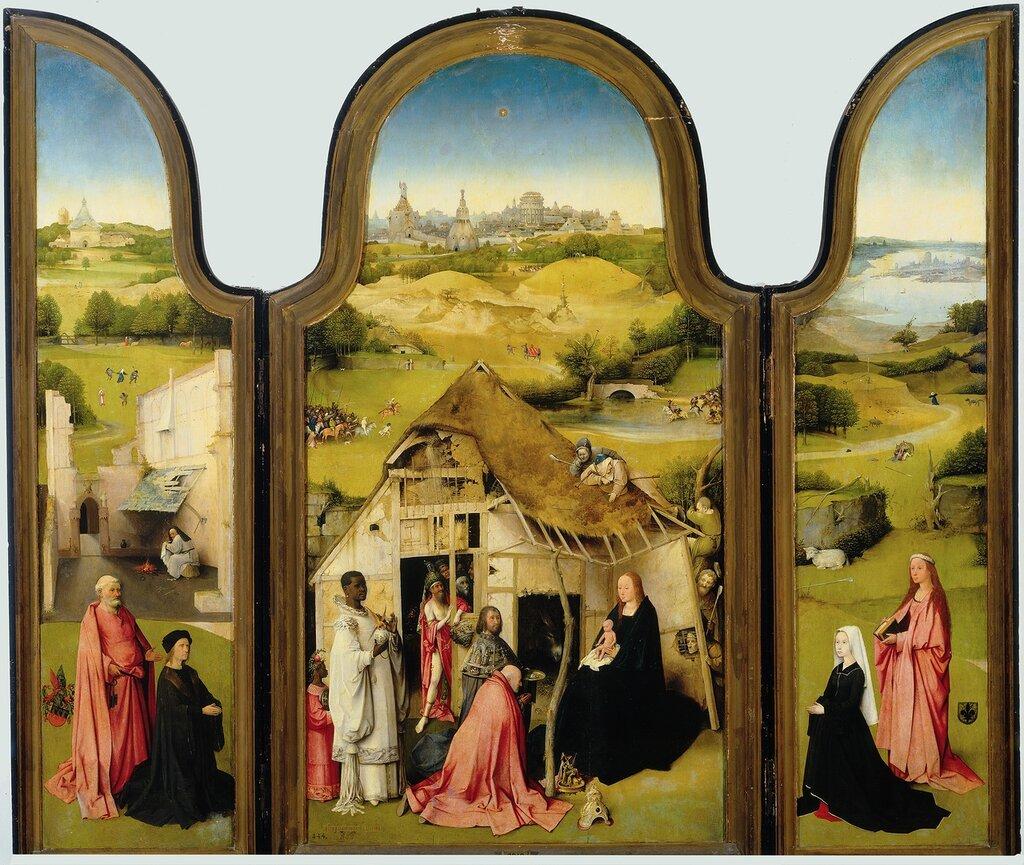 """30.2.Триптих """"Поклонение волхвов"""" (открыт) (ок.1510) (138 x 138) (Мадрид, Прадо).jpg"""