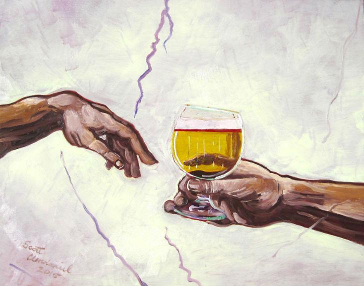 По мотивам Микеланджело «Сотворение Адама».