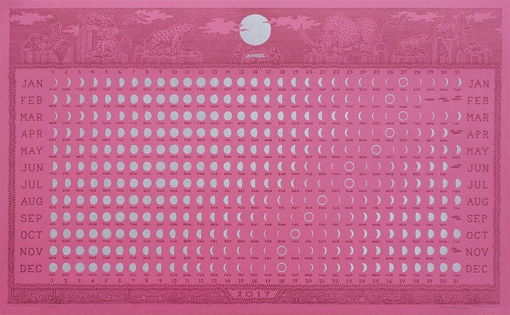 An Elegant 2017 Letterpress Lunar Calendar by Alec Thibodeau